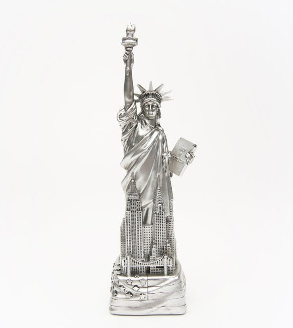 8 Inch Silver Statue of Liberty with Flag Base