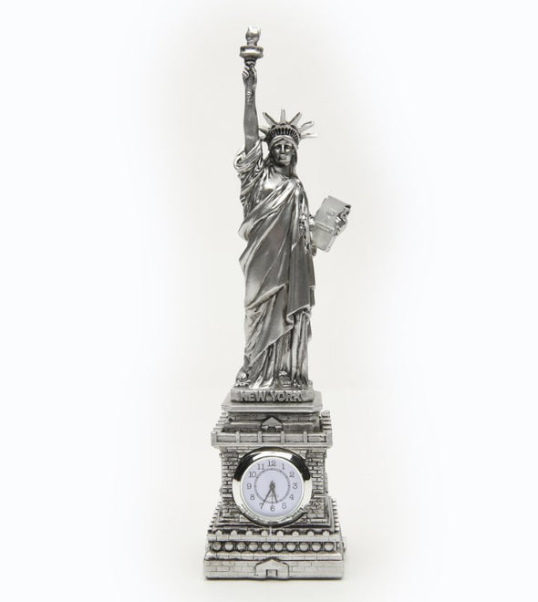 Replica Silver Statue of Liberty with Clock 8.5 Inch