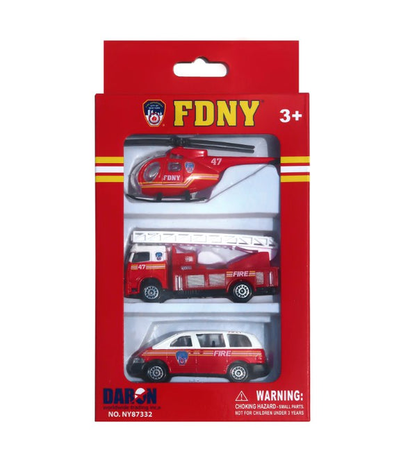 3 Piece Toy FDNY Cars Set