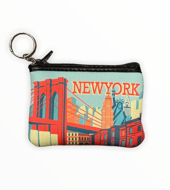 New York City Brooklyn Bridge Neoprene Coin Purse