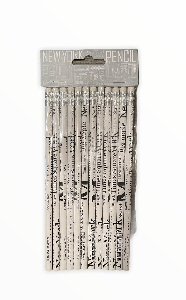 White New York Letters 12pc Pencil Pack