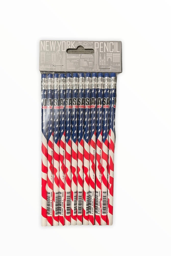 12pc Pencil  Pack USA Flag