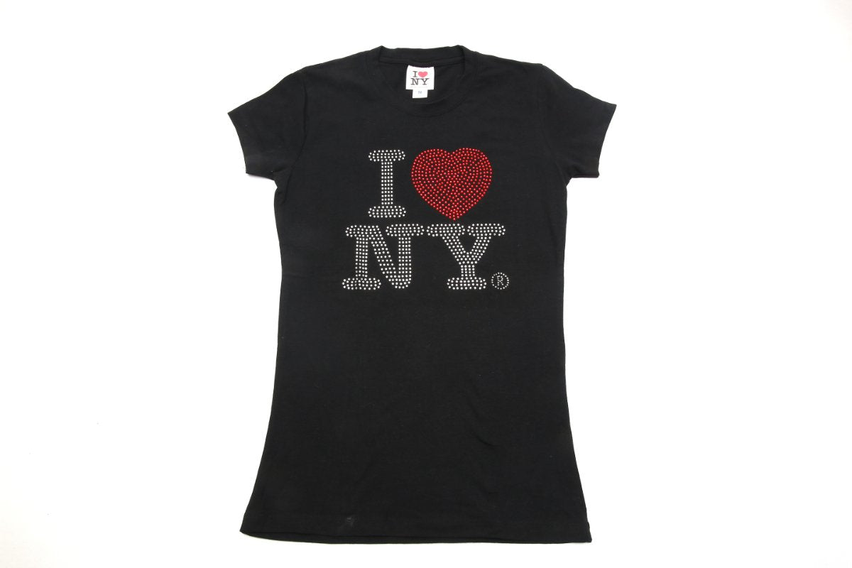 Black I Love New York Rhinestone Baby Doll T-Shirt