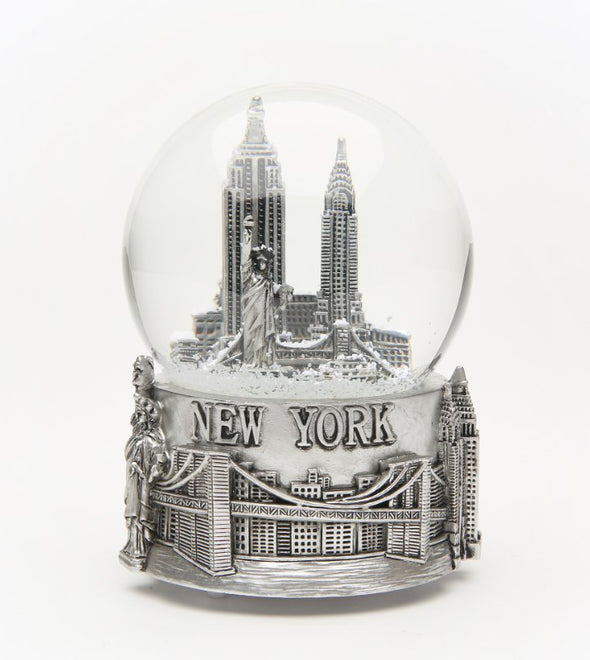 100mm Musical New York Snow Globe Silver