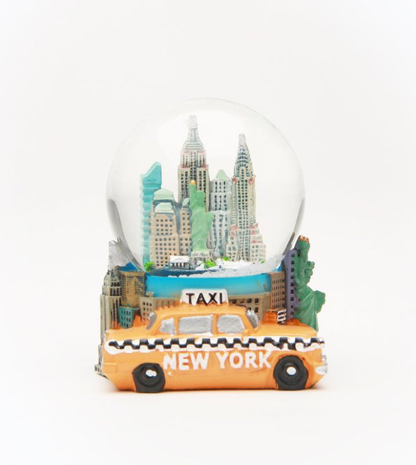 45mm Taxi and Skyline Souvenir Snow Globe