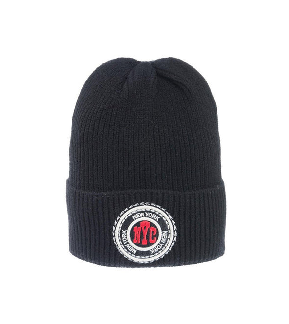 Black New York Beanie with Embroidered Stamp
