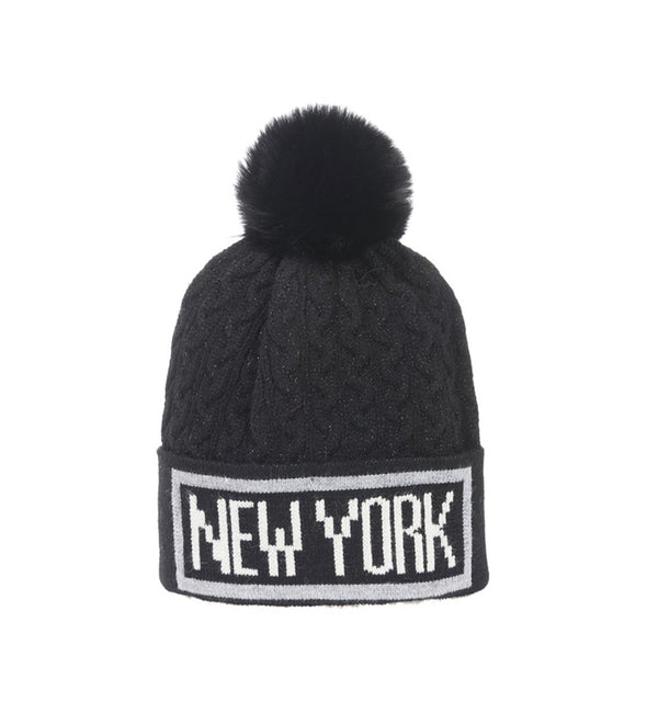 New York Black and White Winter Hat