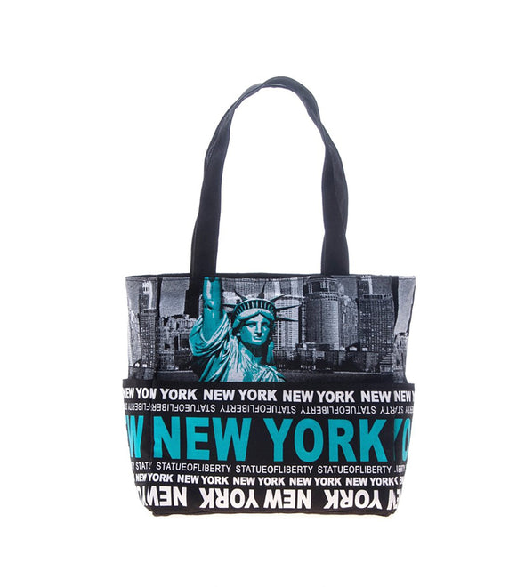 Statue of Liberty Small Teal Tote Bag