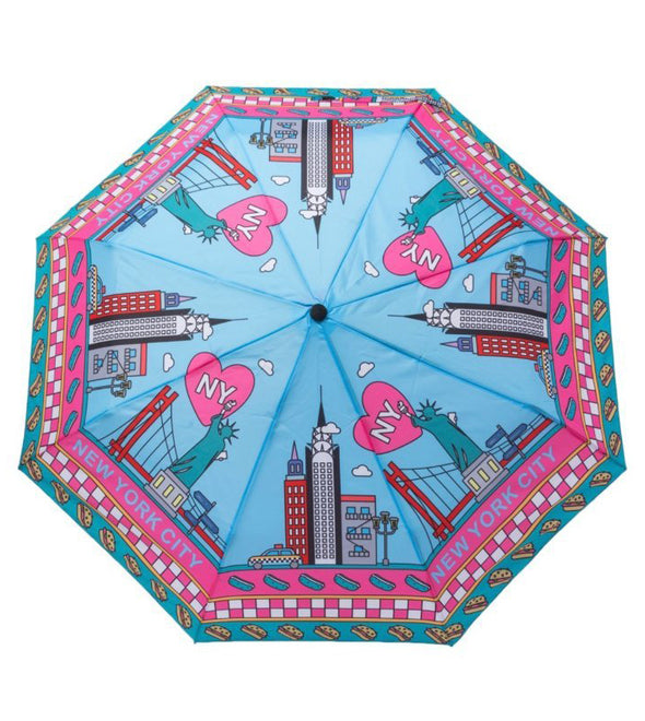 Blue and Pink New York Skyline Cartoon Umbrella