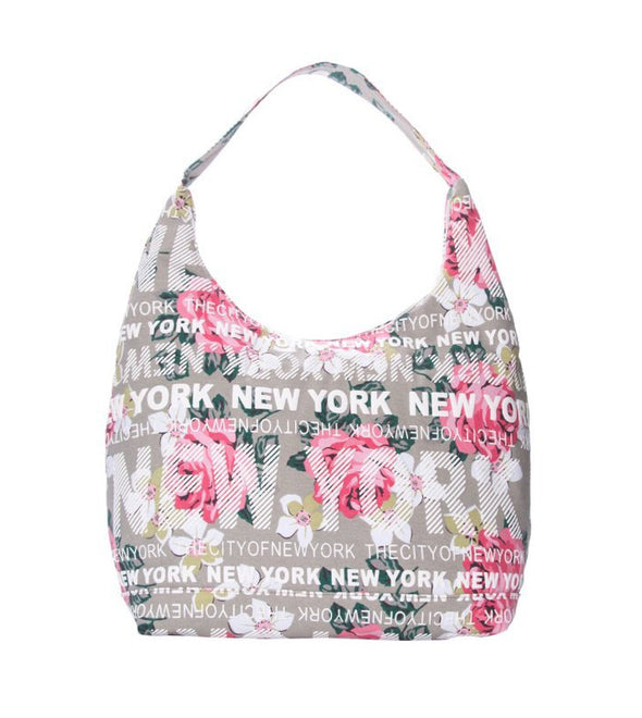 City of New York Beige Floral Bag