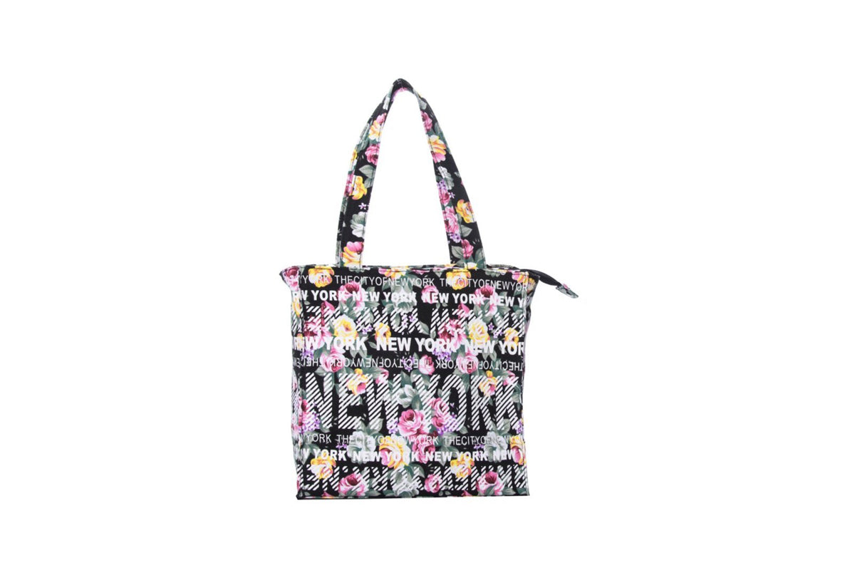 New York City Small Black Floral Bag
