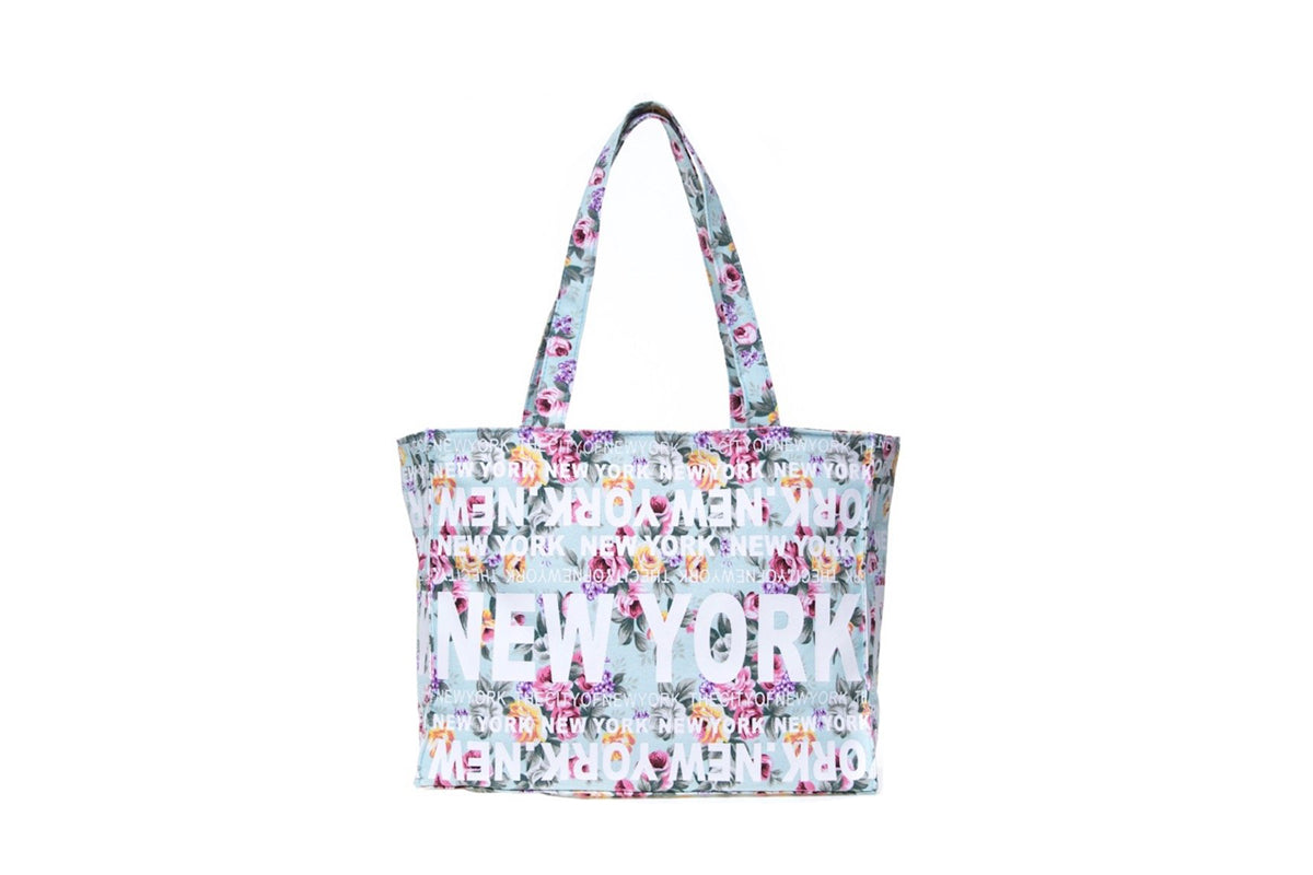 New York City Mint Floral Medium Tote Bag