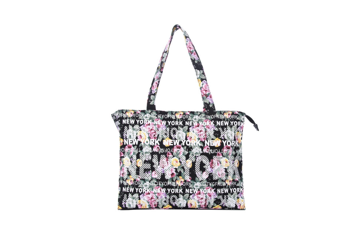 New York City Black Floral Bag