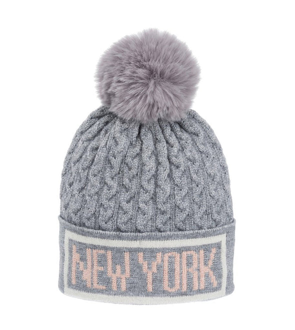 Grey with Purple Pom Pom New York Winter Hat