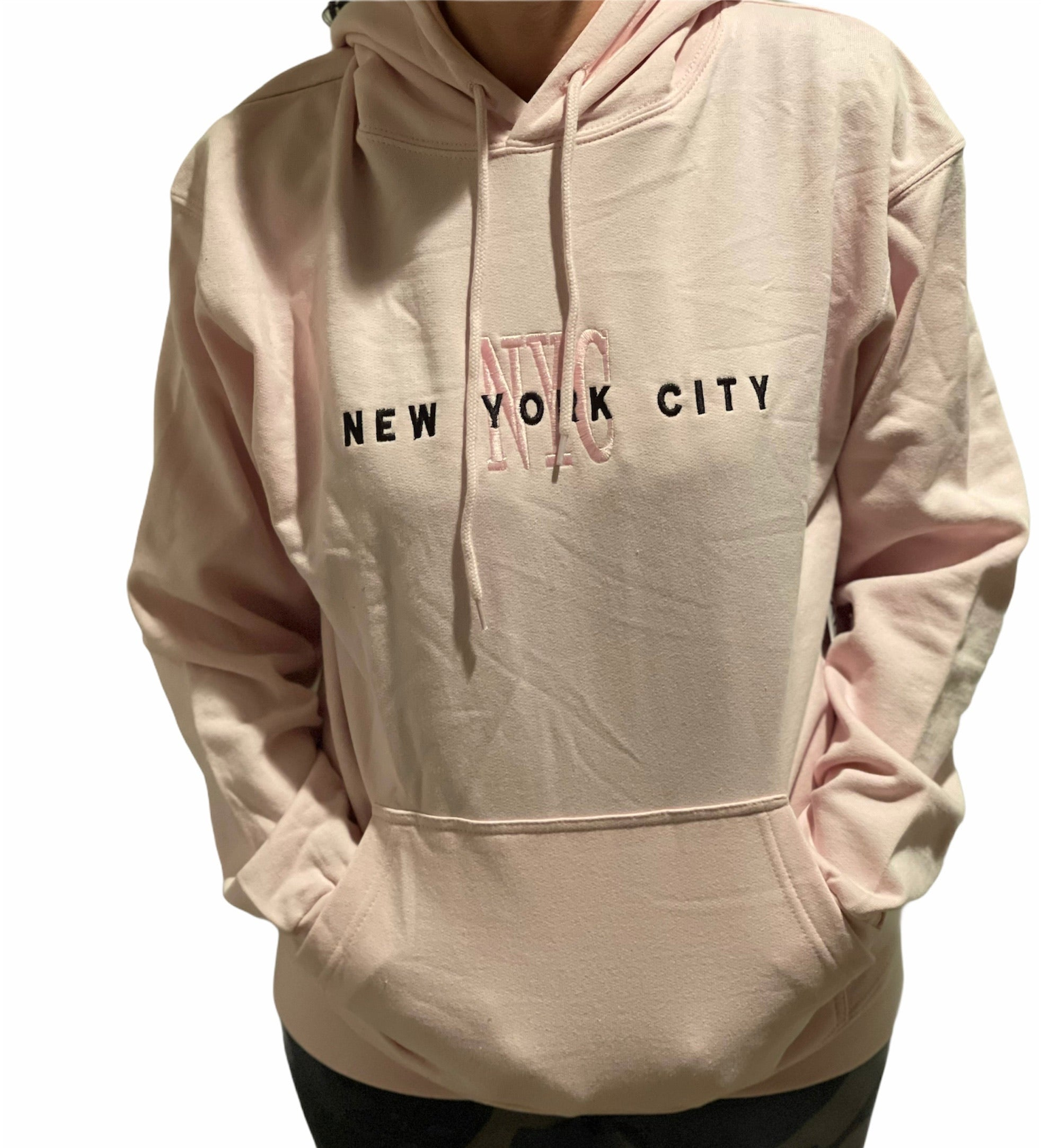 New York Comfortable Pink Embroidered Sweatshirt