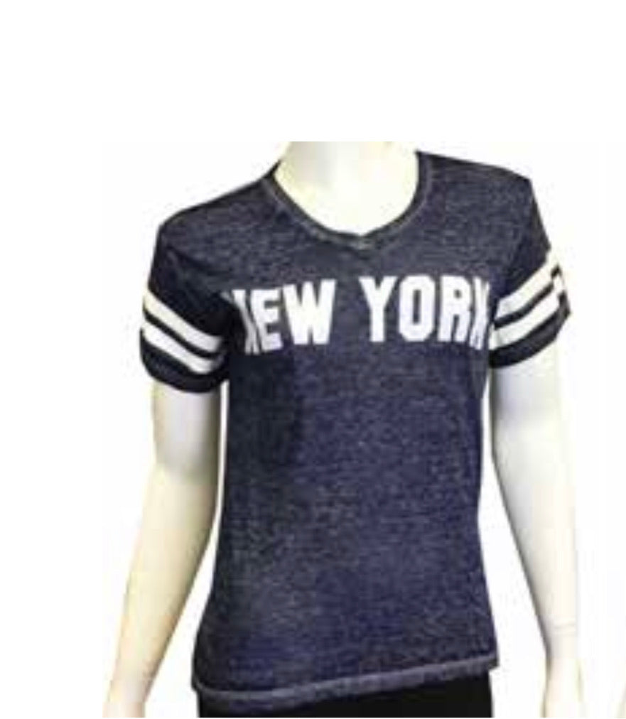 Soft Vintage Wash Ladies Football Shirt Navy