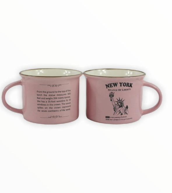 Statue of Liberty Pink Campfire Cappuccino Mug in Gift Box