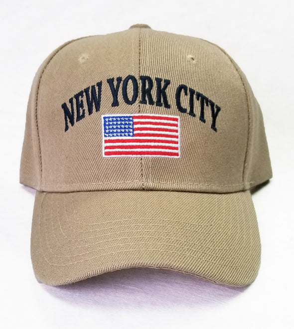 Khaki NYC Embroidered Baseball Hat