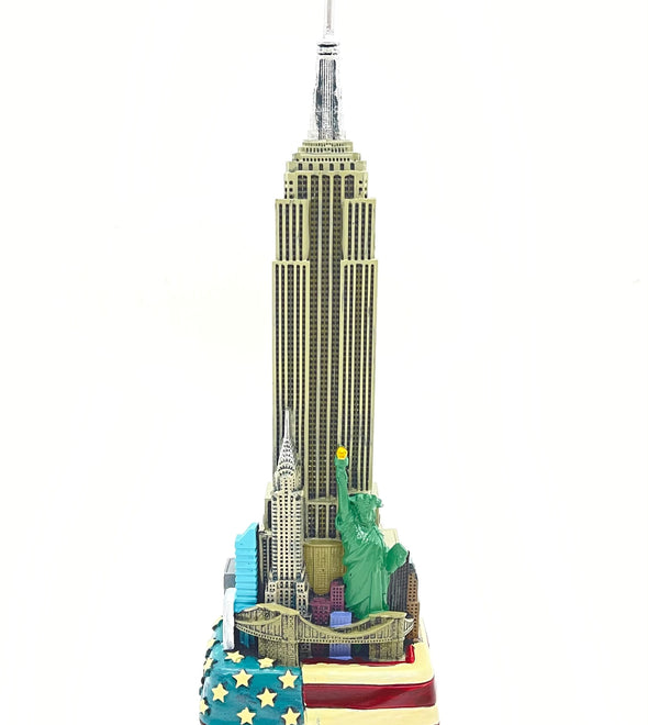 8.5 Inch Empire State Building Replica with Flag Base
