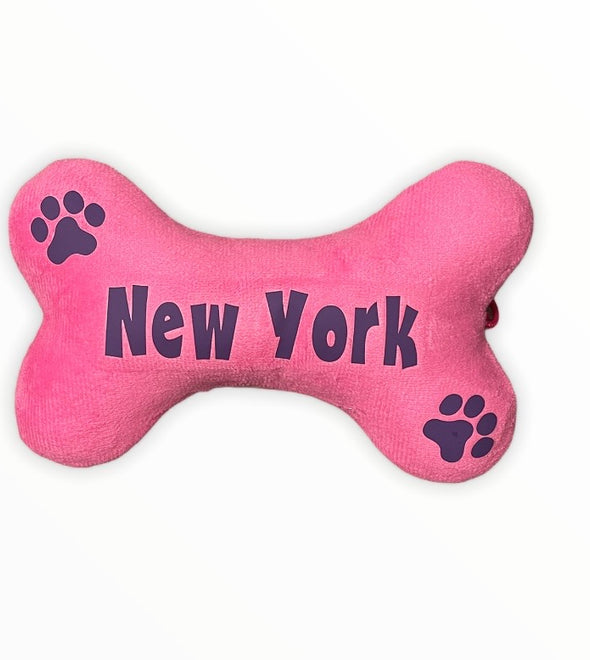 Plush Pink/Purple New York Dog Toy