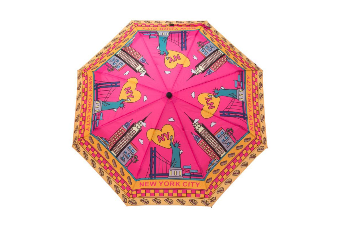 Pink and Yellow New York City Cartoon Umbrella