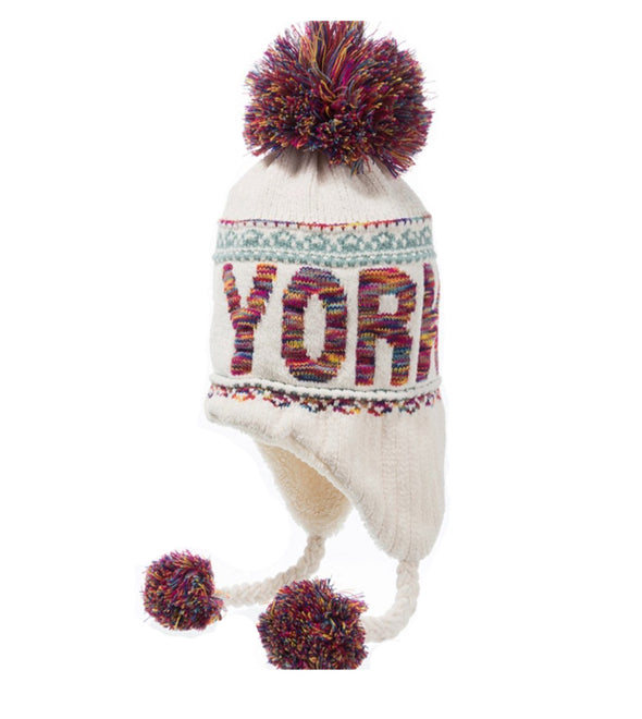 New York White Winter Hat with Pom Pom