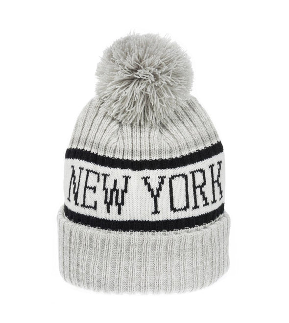 Grey and White New York City Winter Hat