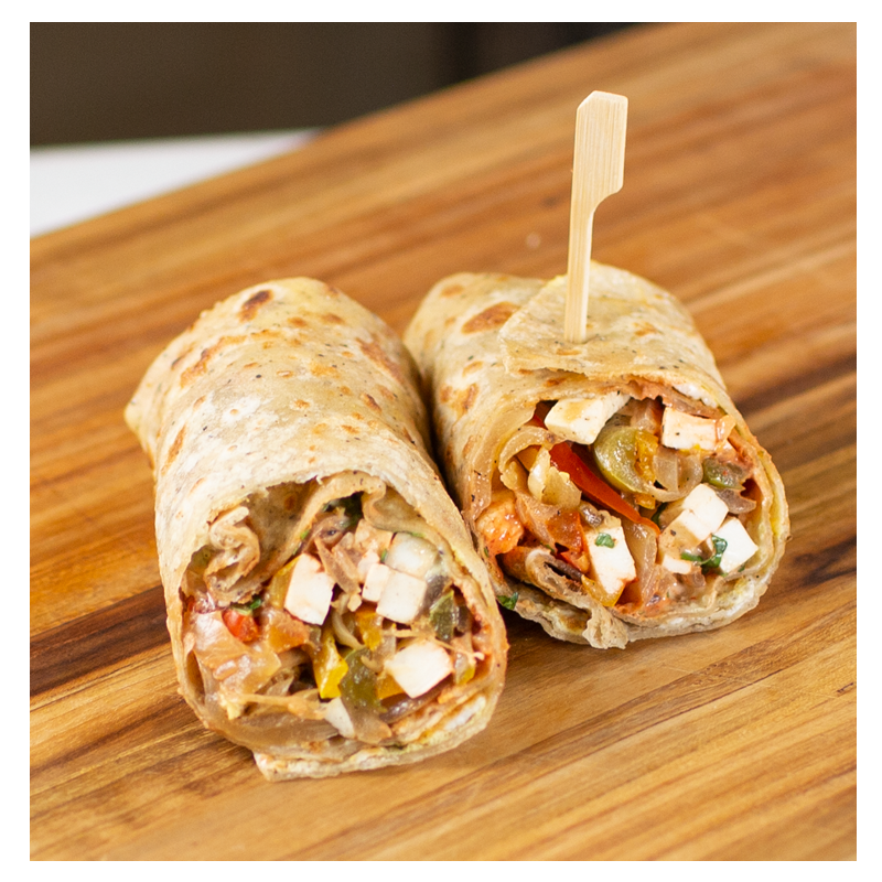 Chat-Pata Paneer Kathi Roll (Egg less Option Available) (Vegetarian)