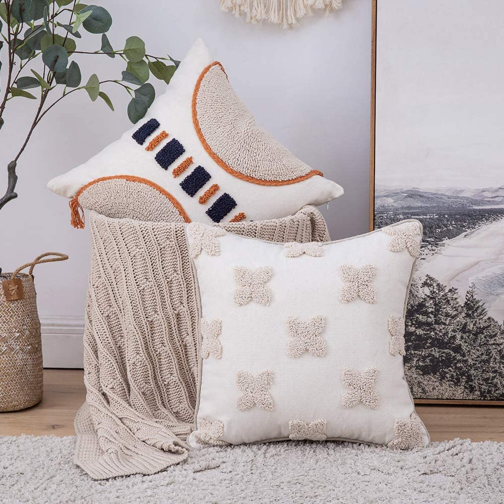 MIULEE Decorative Throw Pillow Cover Tribal Boho Woven Tufted Pillowcase with