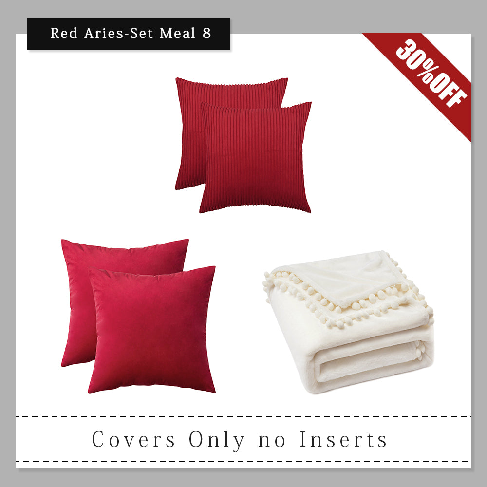 aries set meal miulee red throw pillow covers