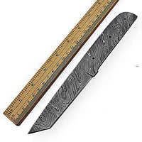 "Hand Forged Damascus Steel Blank Blade 8.50"" Tanto Knife Making Supplies 