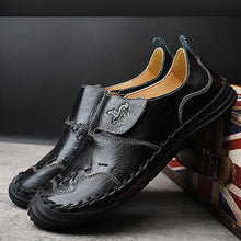 Load image into Gallery viewer, Men Hand Stitching Toe Protective Soft Hook Look Cow Leather Shoes