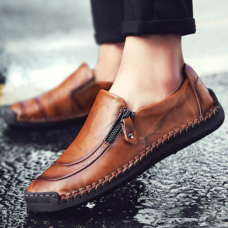 Men Comfy Hand Stitching Genuine Leather Side Zipper Slip On Casual shoes