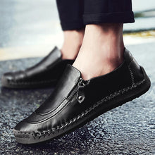 Load image into Gallery viewer, Men Comfy Hand Stitching Genuine Leather Side Zipper Slip On Casual shoes
