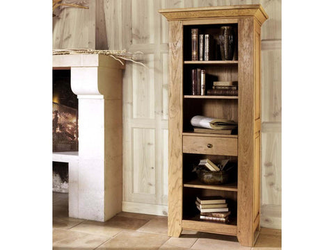 French Valley Oak - bookcase narrow - 1 drawer and 5 shelves