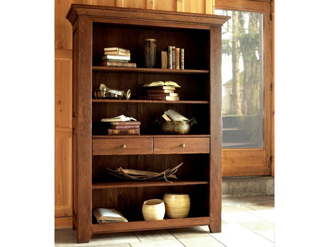 French Valley Oak - bookcase wide - 2 drawer and 5 shelves