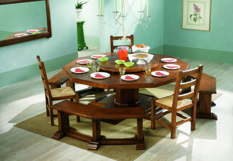 French Country Oak Dining Table - decagonal table 200cm