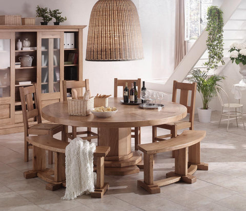 French Country Oak Round Dining Table - round table 200cm with lazy susan