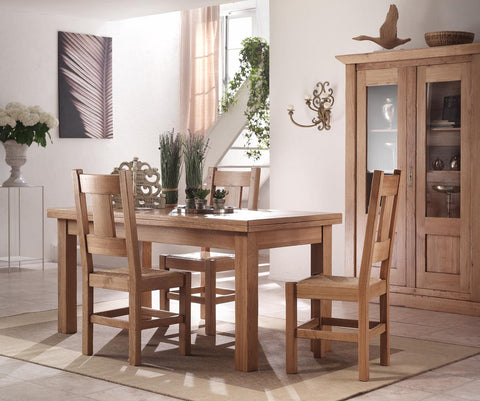 French Country Oak Dining Table - extending flip top 85 x170cm extending to square 170cm x 170cm