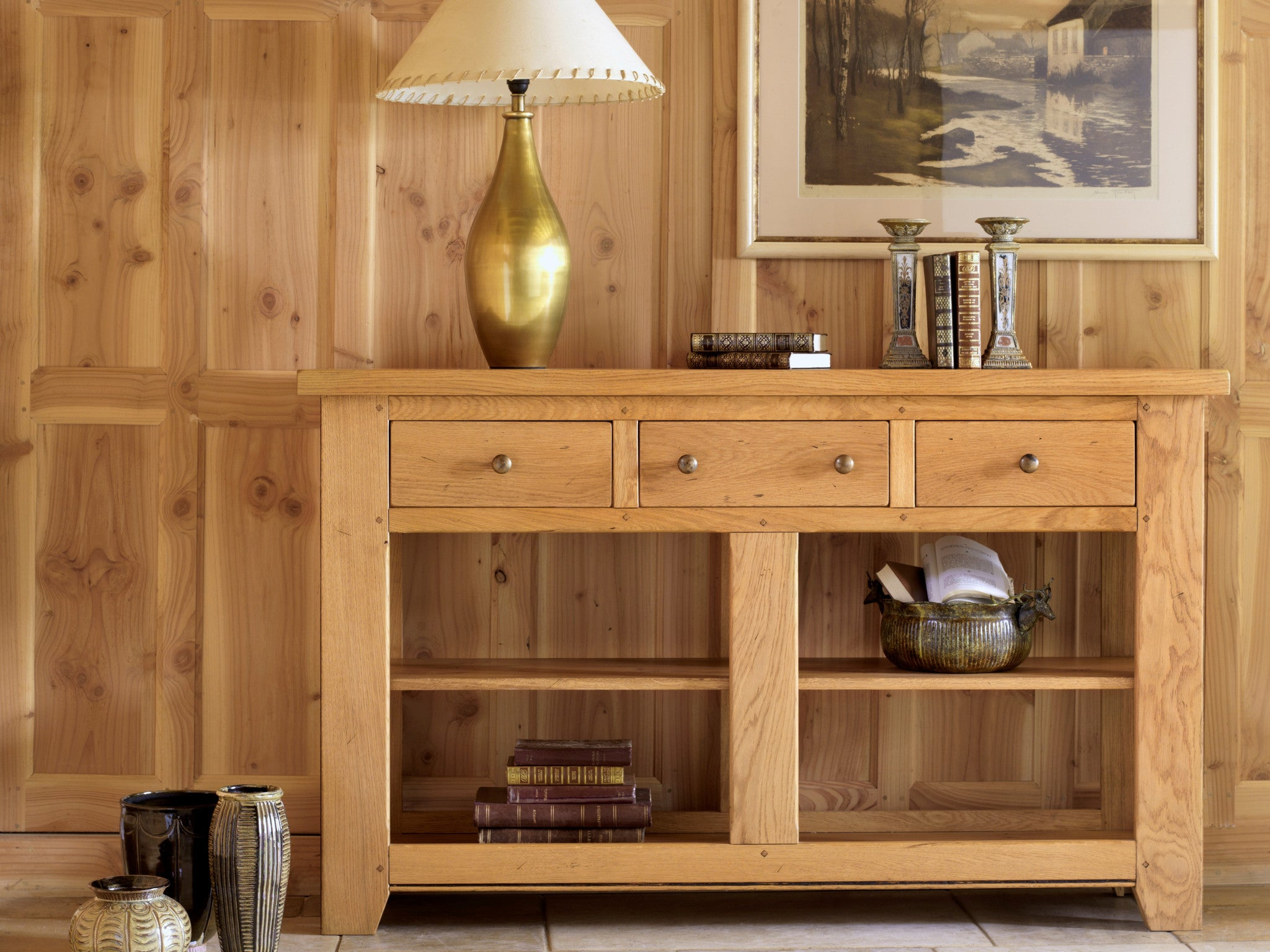 French Valley Oak - console table wide - 3 drawers and 2 shelves ...