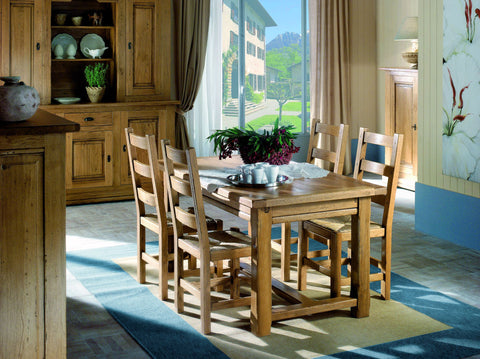 French Country Oak - dining table - farmhouse with footrail and central extensions - MANY SIZES - 6 to 14 seater tables