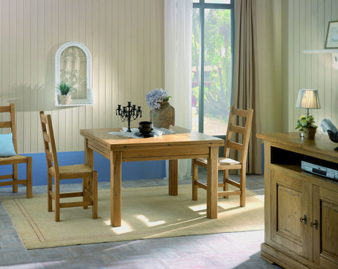 French Country Oak Dining Table - 120cm square to octagonal 170cm