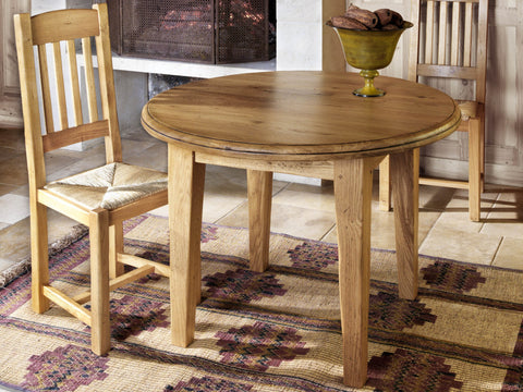French Valley Oak - dining table - round small extending to oval - 105cm diameter extends to 175cm