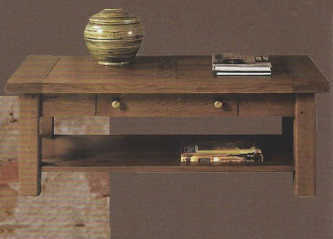 French Valley Oak - coffee table with drawer and shelf
