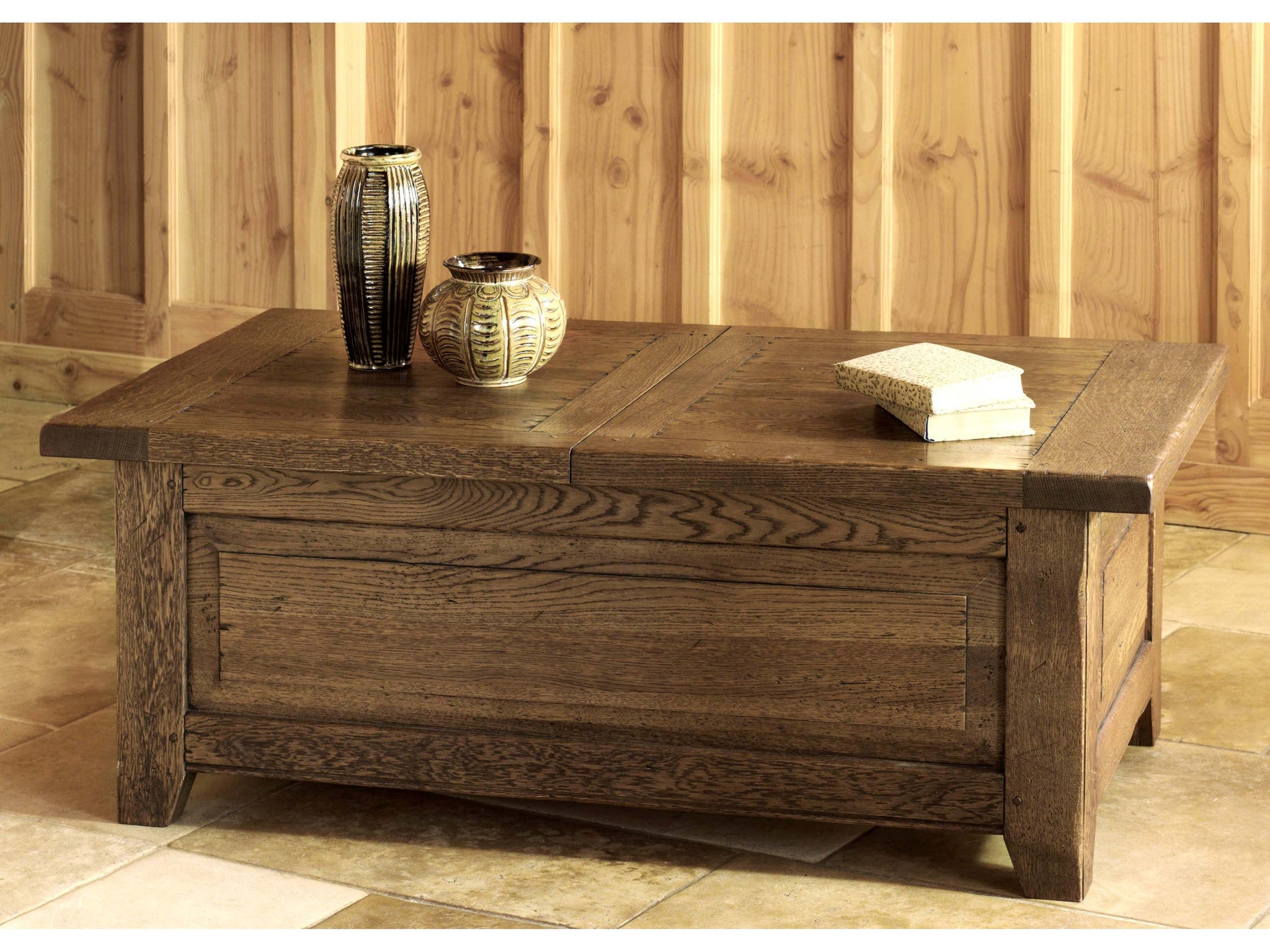 French Valley Oak coffee table trunk with central opening