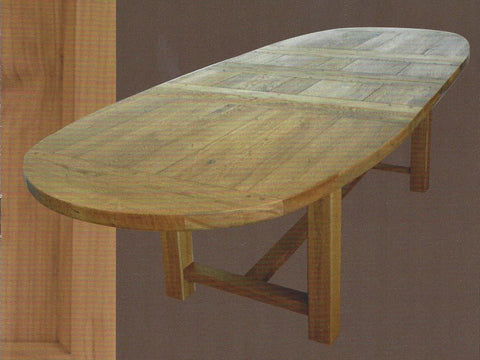 French Valley Oak - dining table - oval large extending - 105cm x 200cm extends to 290cm