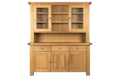 European Acorn Oak - dresser - 3 door base with 3 drawers - 2 glass door top