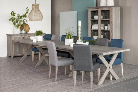 Ancona  Ash Dining Table extending 4cm thick framed top