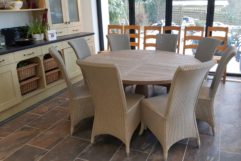Designer Ash - Ancona Range Round Dining table 120cm - 160cm diameter - 4cm thick top with central ash pedestal leg