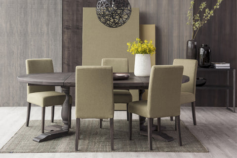 Designer Ash - Ancona Range Round Dining table 120cm - 160cm diameter - 4cm thick extending from 120cm up to 340cm long - with central pedestal leg - central extensions